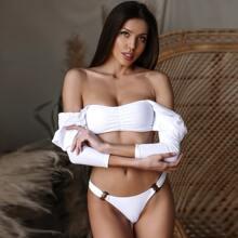 Ruched Front Gigot Sleeve High Cut Bikini Swimsuit