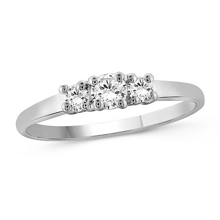 Womens 1/2 CT. T.W. White Cubic Zirconia Sterling Silver 3-Stone Promise Ring, 8 , No Color Family