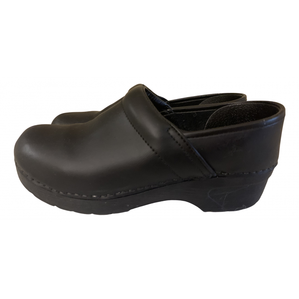 Non Signé / Unsigned N Black Leather Mules & Clogs for Women 37 EU