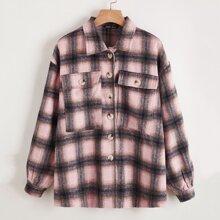 Mantel mit Knopfen vorn, Taschen Klappen und Karo Muster