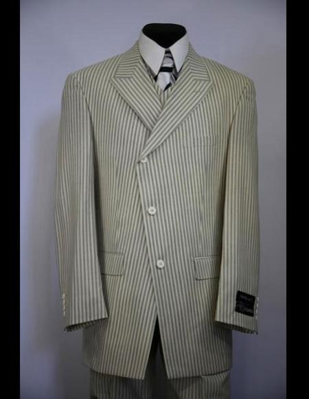 Mens double Breasted Wide Peak Lapel stripe zoot suit