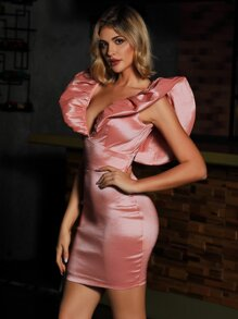 Double Crazy Plunging Neck Exaggerated Ruffle Satin Bodycon Dress
