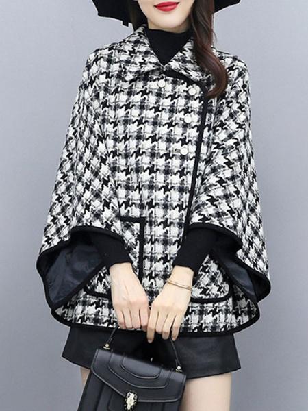 Milanoo Women Poncho Plaid Turndown Collar Polyester Black Oversized Cape