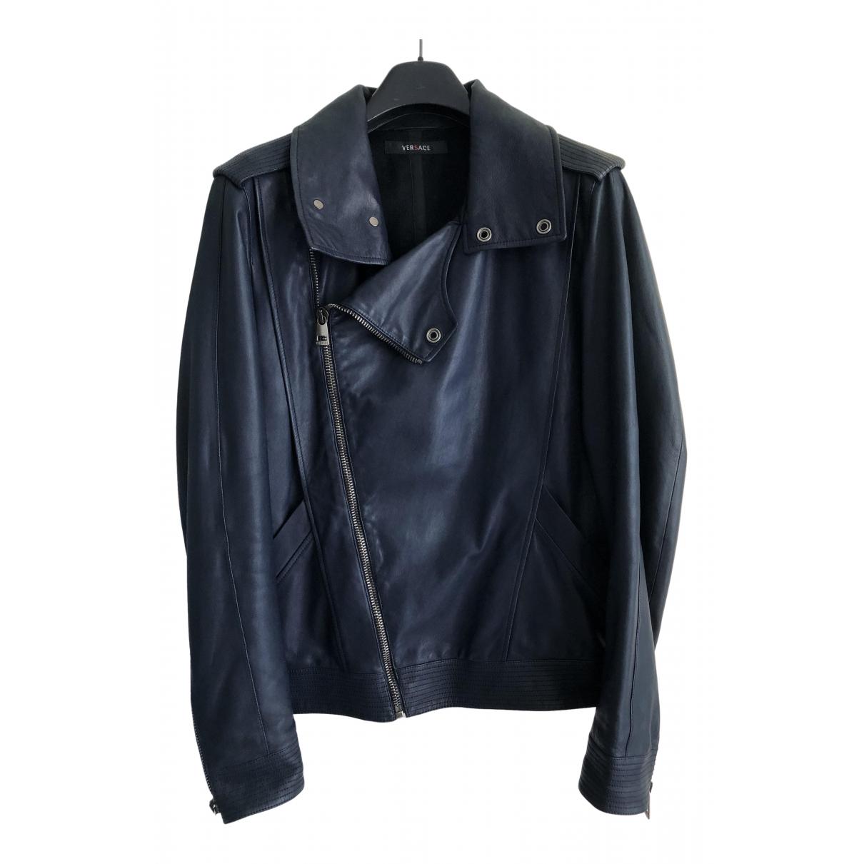 Versace - Vestes.Blousons   pour homme en cuir - bleu