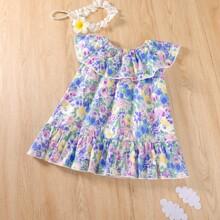 Baby Girl Floral Print Ruffle Trim Smock Dress