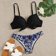 Bañador bikini con aro con cordon delantero tropical al azar