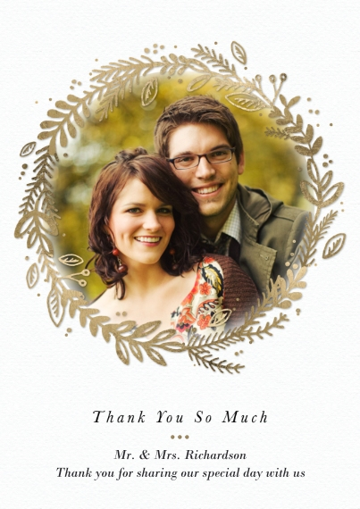 Wedding Thank You Flat Glossy Photo Paper Cards with Envelopes, 5x7, Card & Stationery -Thank You Gold Wreath