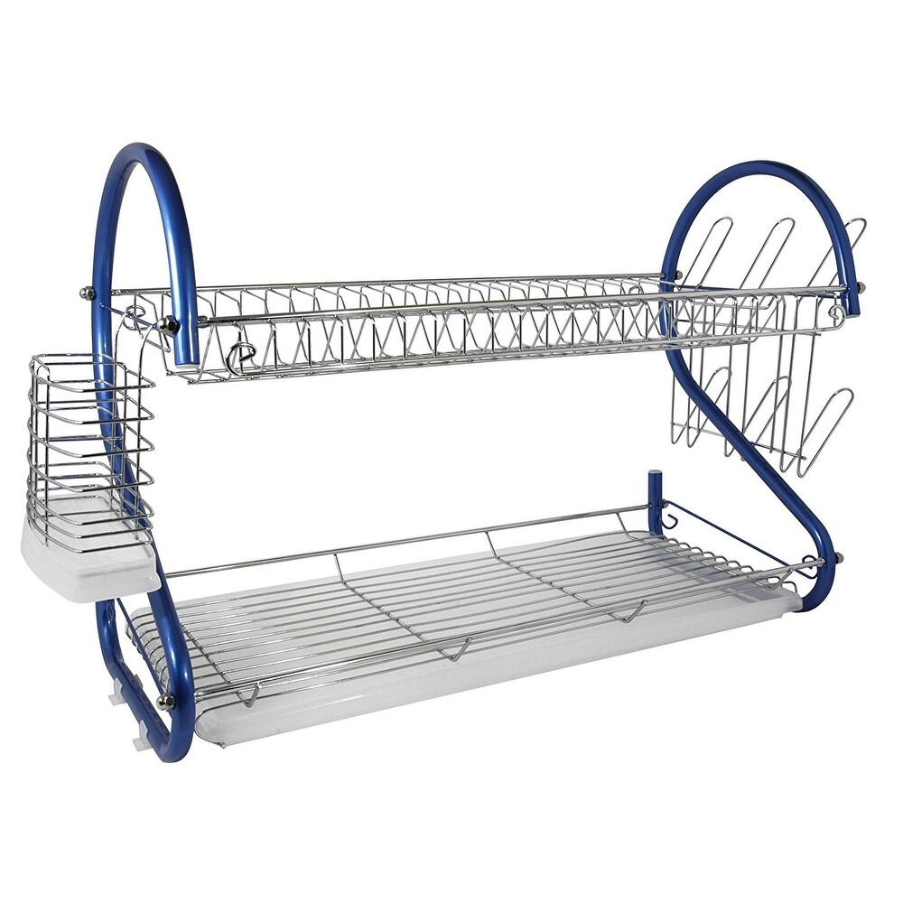 Better Chef DR-226B, 22-Inch, 2-Tier, Chrome Plated Dishrack in Blue (Blue)