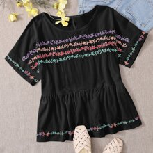 Plus Plants Embroidery Ruffle Hem Blouse