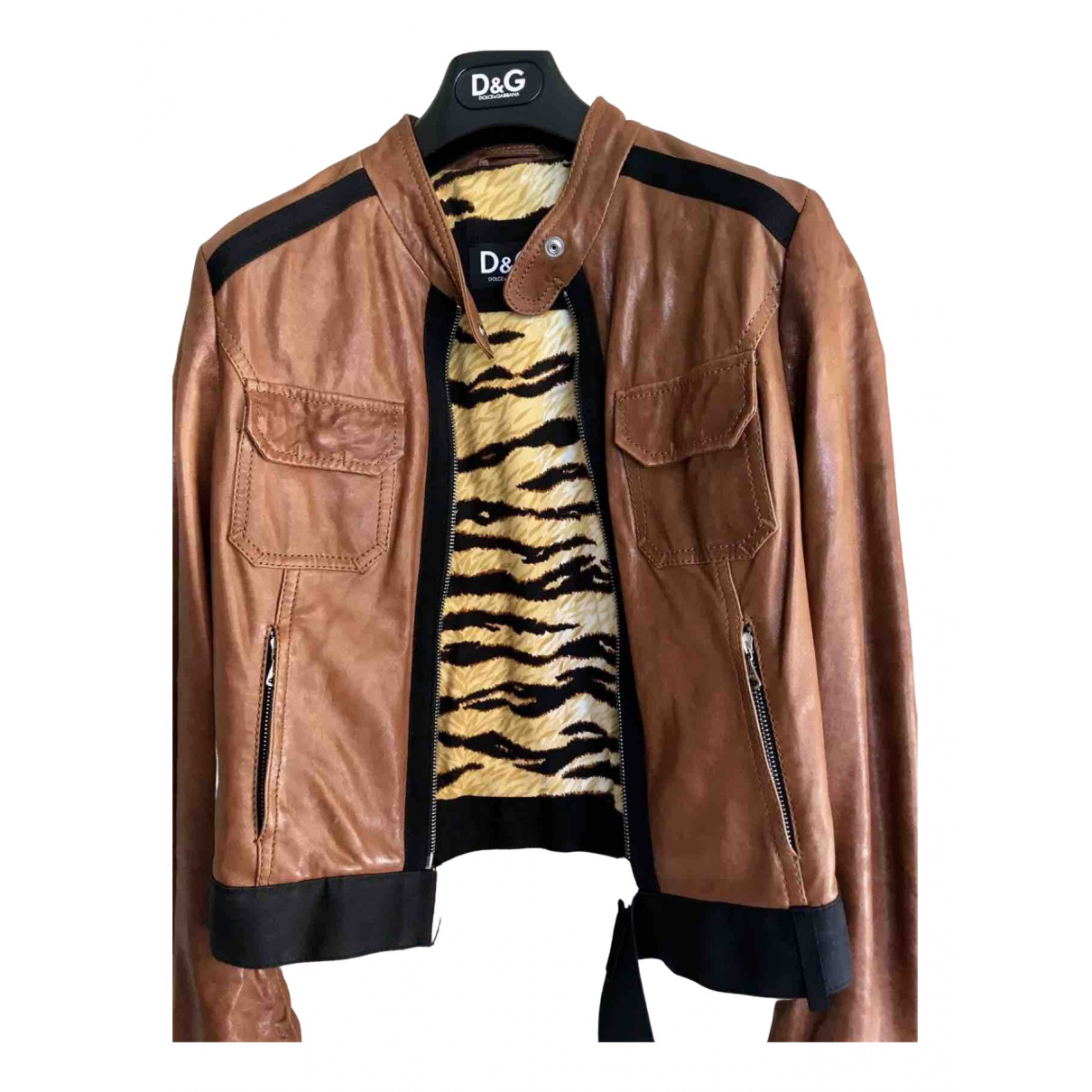D&g N Camel Leather Leather jacket for Women 42 IT