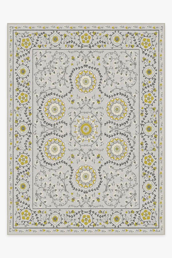 Washable Rug Cover & Pad | Suzani Yellow Rug | Stain-Resistant | Ruggable | 9'x12'