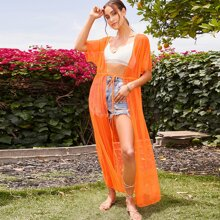 Kimono maxi de malla de cintura con cordon de manga murcielago naranja neon