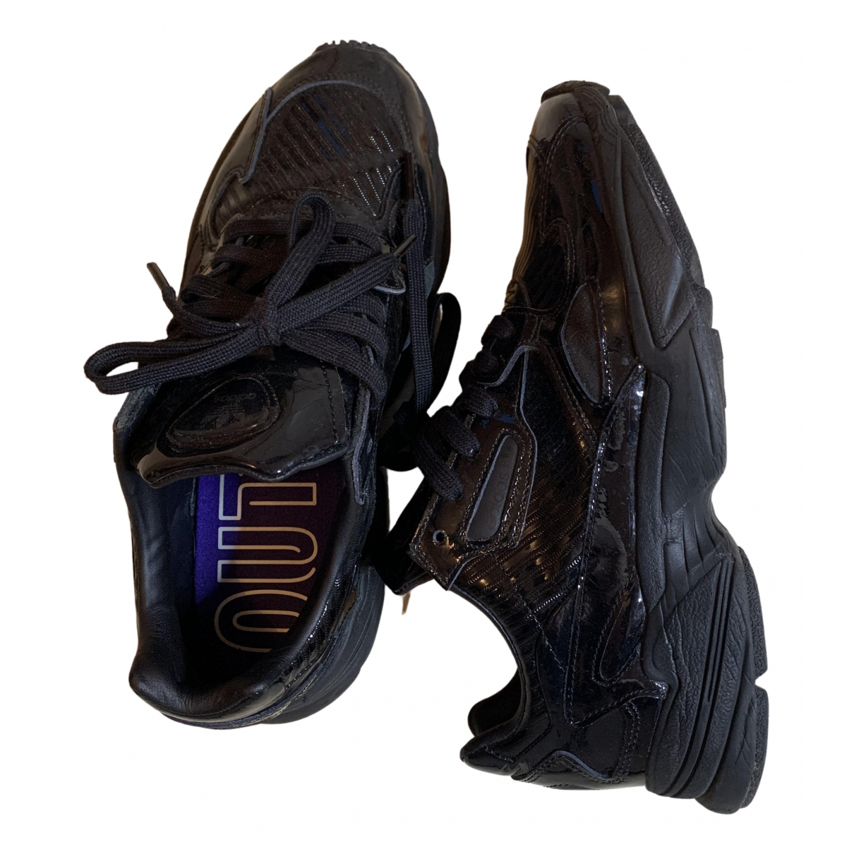 Adidas Falcon Black Patent leather Trainers for Women 40 EU
