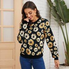 Sweatshirt mit Sonnenblumen Muster
