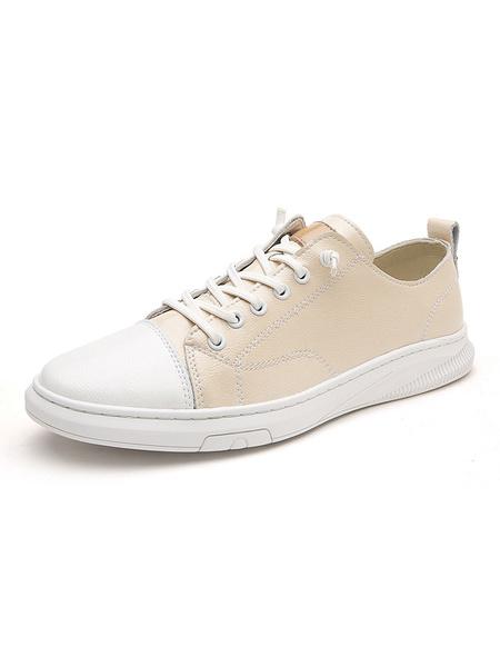 Milanoo Zapatillas para hombre Cozy Cowhide Round Toe Color Vlock Black White Zapatos para hombre