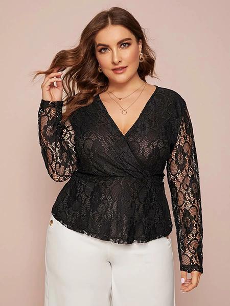 Yoins Plus Size Black Lace Long Sleeves Blouse