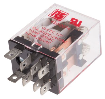 RS PRO , 12V dc Coil Non-Latching Relay DPDT, 10A Switching Current Plug In, 2 Pole