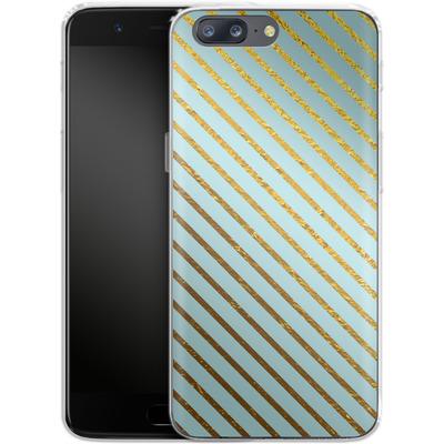 OnePlus 5 Silikon Handyhuelle - Gold Foil Stripe von Khristian Howell