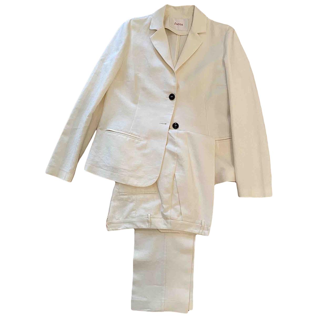 Jucca - Pantalon   pour femme en lin - ecru