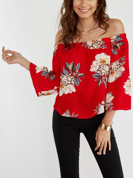 Yoins Red Random Floral Print Off Shoulder 3/4 Length Sleeves Blouse