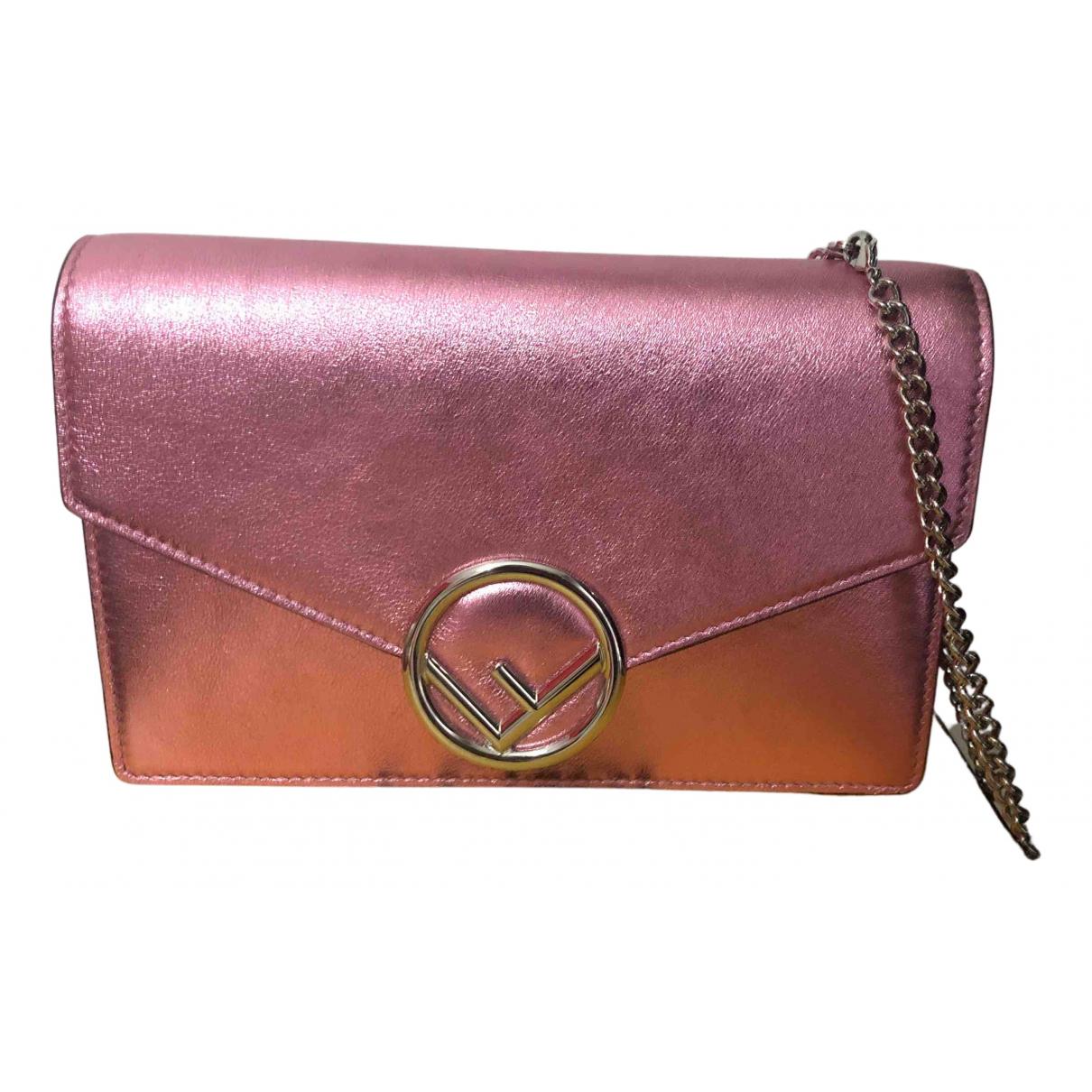 Fendi - Pochette Kan I logo pour femme en cuir - rose