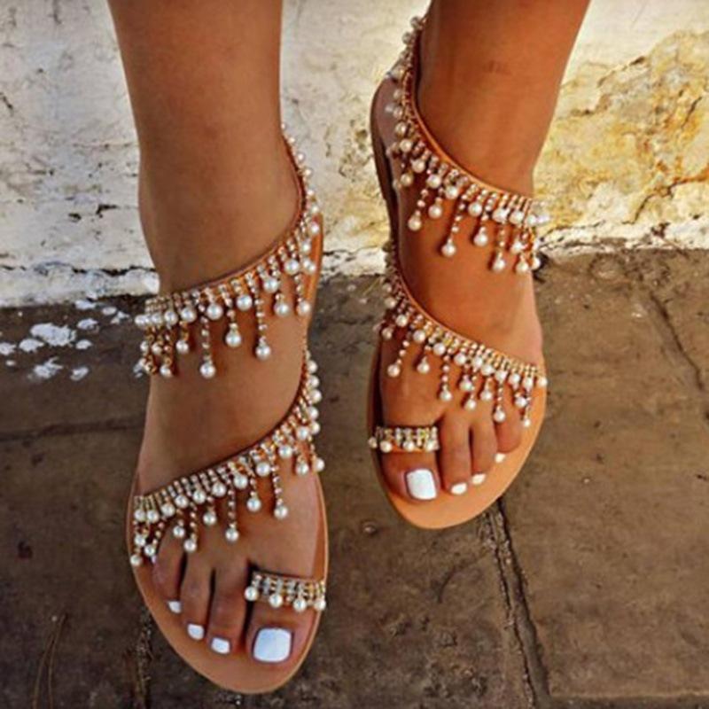 Ericdress Rhinestone Beads Toe Ring Flat Sandals
