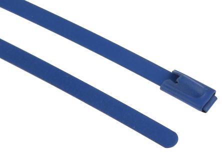RS PRO Blue Polyester Coated Stainless Steel Roller Ball Cable Tie, 100mm x 4.6 mm