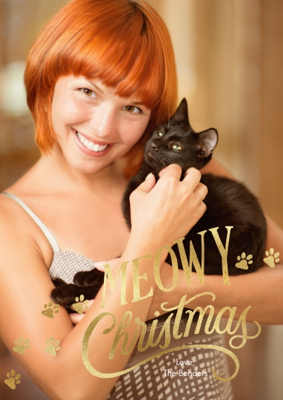Christmas Photo Cards 5x7 Cards, Premium Cardstock 120lb with Scalloped Corners, Card & Stationery -Meowy Christmas & Paw Prints Photo Card by Hallmar