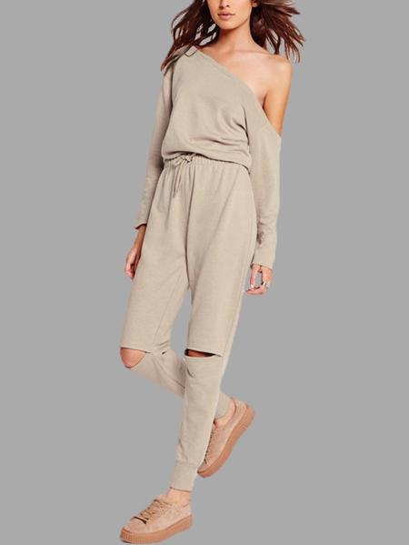 Yoins Khaki One Shoulder Drawstring Waist Hollow Knees Jumpsuit