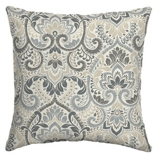 Arden Selections Outdoor 16 x 16 in. Square Pillow (Neutral Aurora Damask - 16 in L x 16 in W x 5 in H)