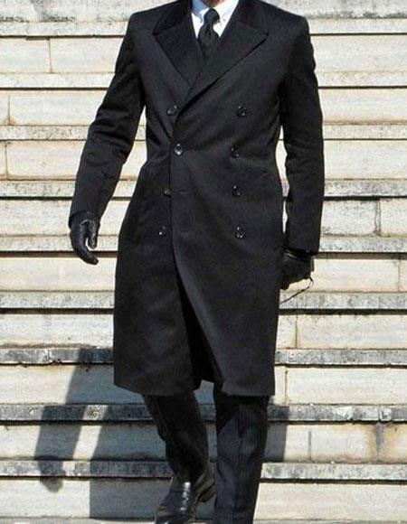 Men's Black James Bond Spectre Peak Lapel Double Breasted Long Coat