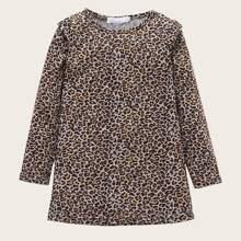 Vielfarbig Rueschen Leopardenmuster  Laessig Kleinkind Maedchen Kleider