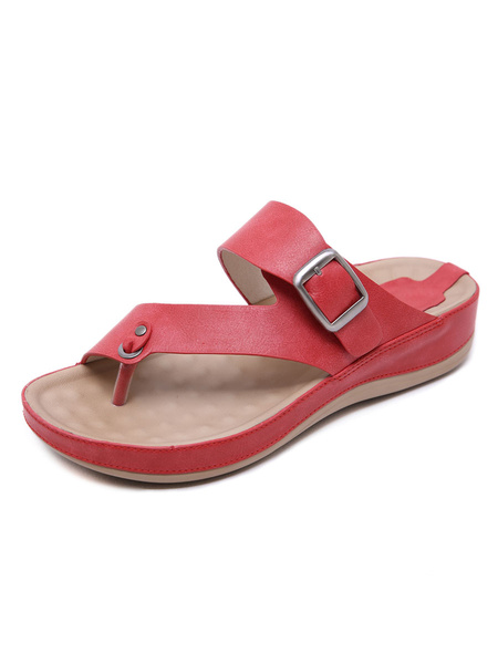 Milanoo Flat Sandals For Woman Chic Buckle Flat PU Leather