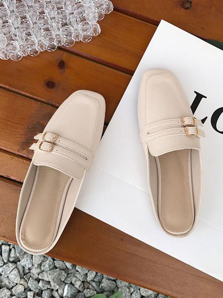Milanoo Zapatos planos para mujer Zapatillas con punta cuadrada Zapatillas de mujer