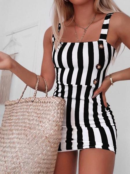 Yoins Square neck Striped Button Front Sleeveless Mini Dress