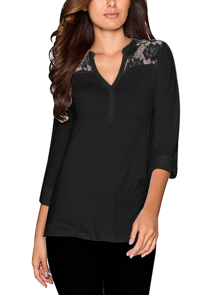 Yoins Kenoce Lace Button Design V-neck Long Sleeves Tee
