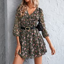 Floral Print Ruffle Trim Dress Without Belt