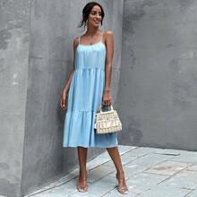 Einfarbiges mehrschichtiges Cami Kleid