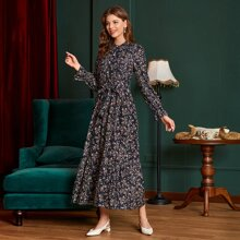 Ditsy Floral Button Front Belted Dress
