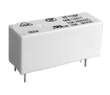 Hongfa Europe GMBH , 12V dc Coil Non-Latching Relay SPST, 10A Switching Current PCB Mount Single Pole (5)