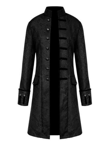 Milanoo Disfraz Halloween Abrigo negro vintage cuello alto boton jacquard edad media abrigo retro disfraces para hombre Carnaval Halloween