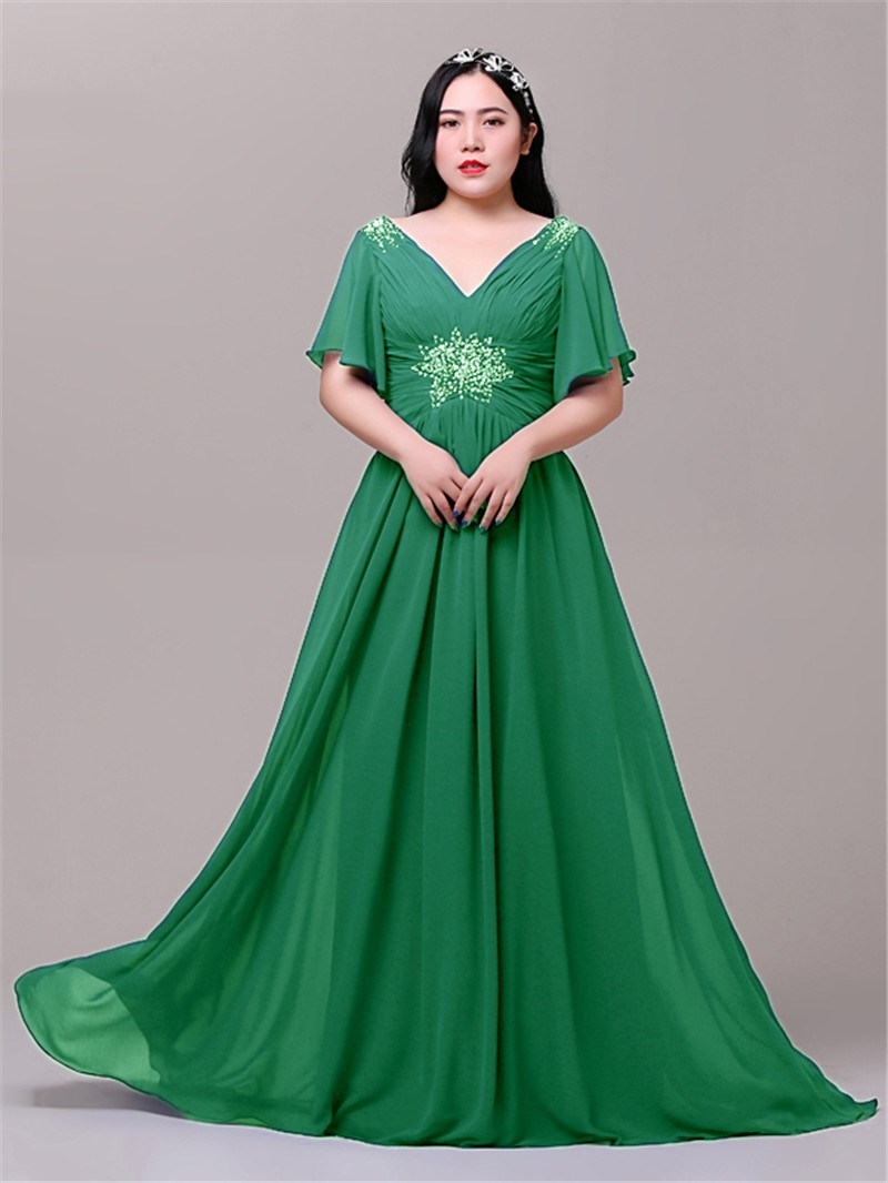 Ericdress A-Line Cap Sleeves Beading Plus Size Evening Dress