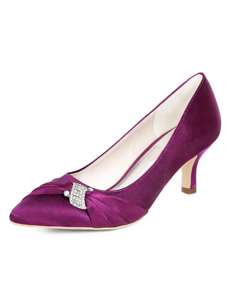 Milanoo Purple Mother Of The Bride Shoes Plus Size Satin Pointed Toe Rhinestones Kitten Heel Wedding Shoes
