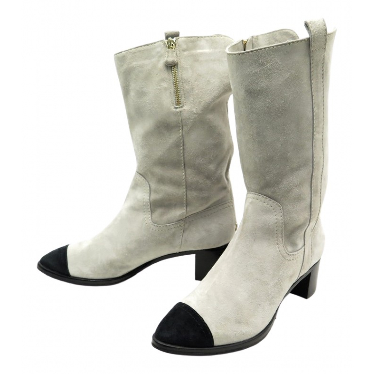 Chanel \N Grey Suede Ankle boots for Women 38.5 EU