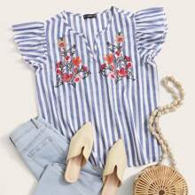 Plus Embroidered Floral Butterfly Sleeve Striped Top