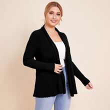 Plus Solid Ribbed Knit Cardigan