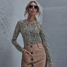 T-Shirt mit rundem Kragen und Leopard Muster
