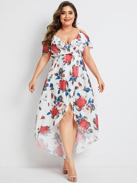 Yoins Plus Size White Wrap Design Floral Print Cold Shoulder Dress
