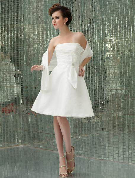 Milanoo Vestido de novia de tafetan con escote palabra de honor y adorno arrugado hasta la rodilla