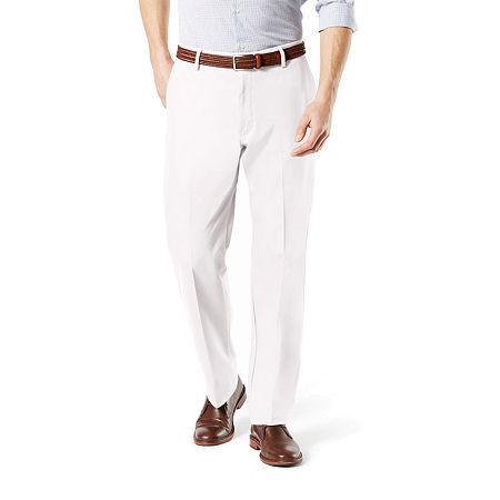 Dockers Men's Classic Fit Signature Khaki Lux Cotton Stretch Pants D3, 42 30, White